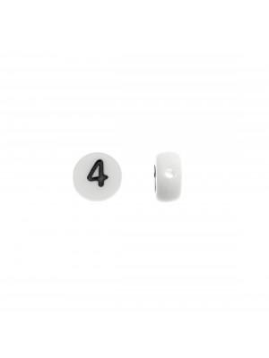"""Distanziatore in resina con disegno numero """"4"""", 7 mm."""
