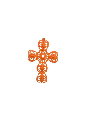 Filigrana a forma di croce, leggermente bombata, traforata a riccioli, 29x40 mm., colore Arancione fluo effetto gommoso