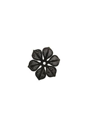 Filigrana a forma di fiore a sei petali traforati e ondulati, 29 mm., colore Nero effetto gommoso