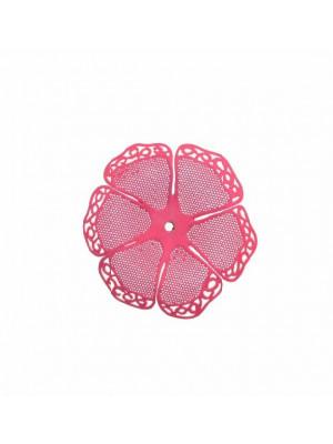 Filigrana a forma di fiore a sei petali traforati e ondulati, colore Fucsia fluo effetto gommoso