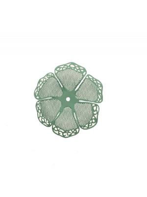 Filigrana a forma di fiore a sei petali traforati e ondulati, colore Verde tiffany effetto gommoso