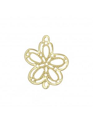 Filigrana a forma di fiore a cinque petali, piatta e sottile, traforata con due anelli, 20x24 mm.