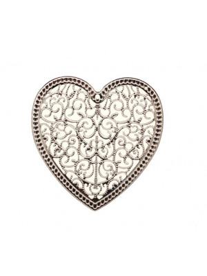 Filigrana a forma di cuore piatto, 46x48 mm