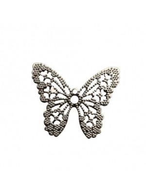 Filigrana a forma di farfalla piatta, traforata, forata al centro, 33x28 mm.