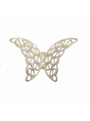 Filigrana a forma di farfalla traforata con ali bombate, 39x26 mm.