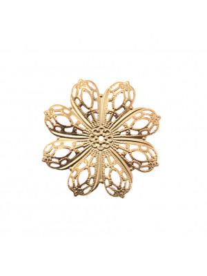 Filigrana a forma di fiore a otto petali, forata al centro, 46 mm.