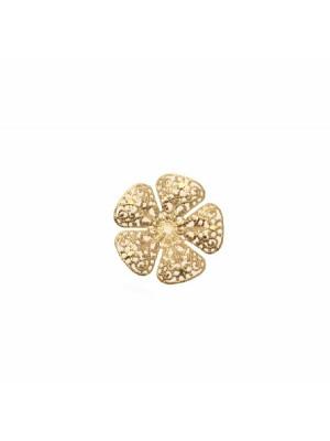 Filigrana a forma di fiore, leggermente bombata, traforata a riccioli, forata al centro, 19 mm.