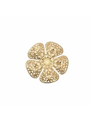 Filigrana a forma di fiore, leggermente bombata, traforata a riccioli, forata al centro, 27 mm.