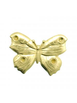 Filigrana a forma di farfalla, leggermente bombata, 51x37 mm., colore Ottone