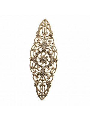Filigrana ovale allungata a punte, piatta, traforata a riccioli, con fiori e foglie, 85x32 mm.