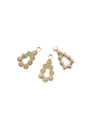 Filigrana porta strass a forma di goccia, vuota al centro, con anello in alto, 14x7 mm. (potete incollarci 8 gemme tonde coniche