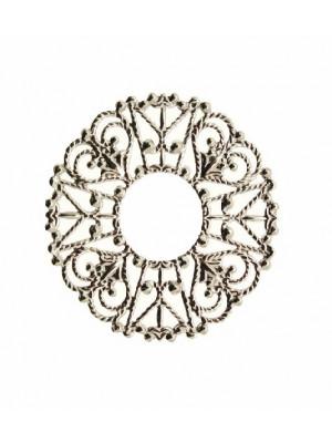 Filigrana tonda a cerchio piatta, aperta al centro, lavorata a riccioli, 32 mm.