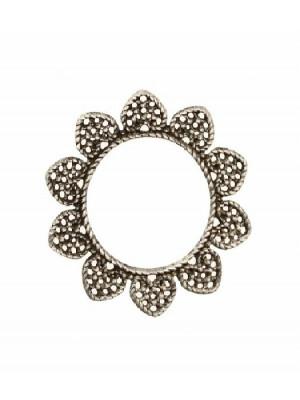 Filigrana tonda a cerchio piatto, aperto al centro, con petali nel contorno, 33 mm.