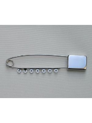 Spilla da balia con lavorazione in punta rettangolare e 7 anelli 70 mm.