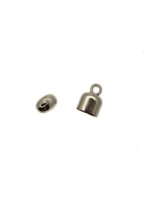 Terminale in resina galvanizzata per cordoncini o nastri, di forma rettangolare liscia, con un anello finale, 13x17 mm.