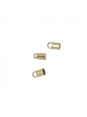 Terminale per cordoncini a forma di tubo liscio con anello finale, 7x4 mm.