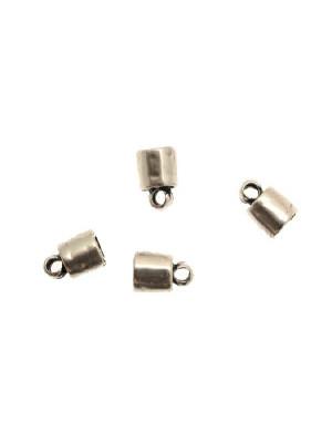 Terminale per cordoncini a forma di tubo liscio con anello finale, 8x12 mm.