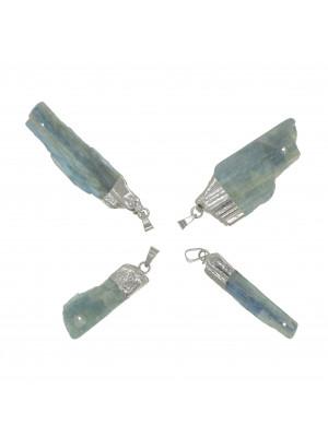 Ciondolo irregolare di pietra dura, colore Carta da Zucchero, 8-18x38-53 mm, base colore Argento Rodio