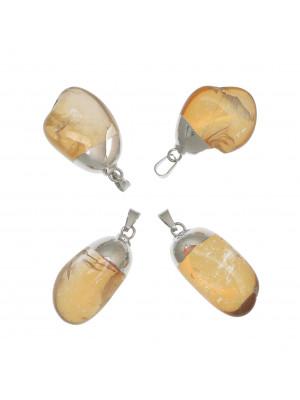 Ciondolo irregolare di pietra dura, colore Ambra, 14-22x33 mm, base colore Argento Rodio