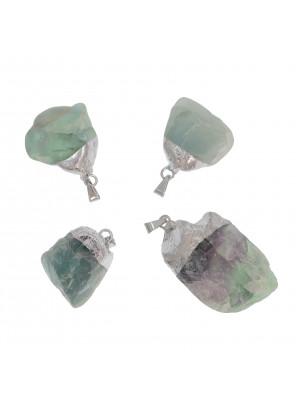 Ciondolo irregolare di pietra dura, colore Verde con sfumature Blu, 18-23x31-44 mm, base colore Argento Rodio