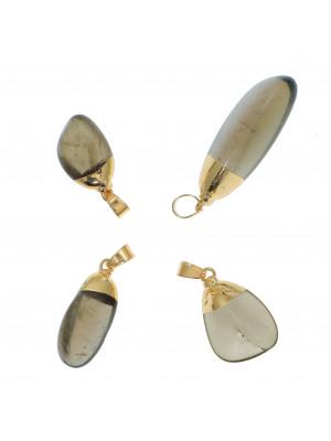 Ciondolo irregolare di pietra dura, colore Quarzo Fumé, 13-18x29-47 mm, base colore Oro Lucido