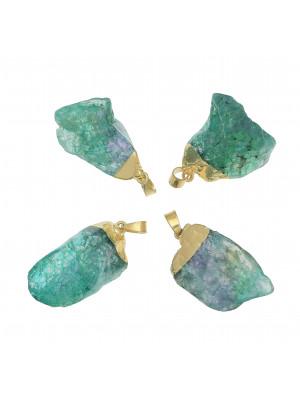 Ciondolo irregolare di pietra dura, colore Verde sfumato in Blu, 19-26x38-45 mm, base colore Oro Lucido