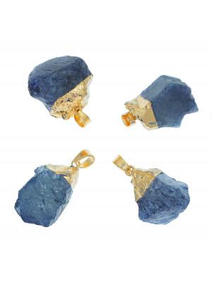 Ciondolo irregolare di pietra dura, colore Blu, 16-23x29-35 mm, base colore Oro Lucido