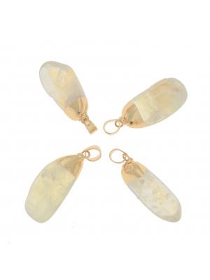 Ciondolo irregolare di pietra dura, colore Beige Dorado, 14-17x37-42 mm, base colore Oro Lucido