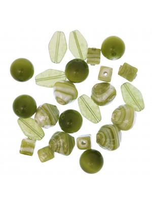 Mix Perline Verdi in vetro