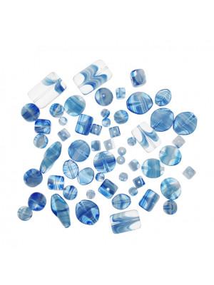 Mix Perline Acqua striato in bianco in vetro