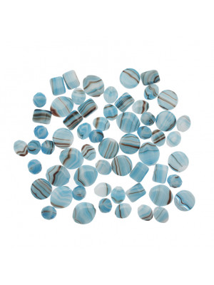 Mix Perline Turchese striato in bianco in vetro