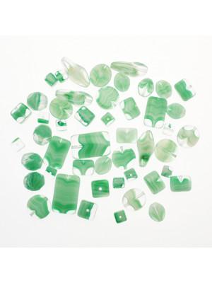 Mix Perline Peridot striato in vetro