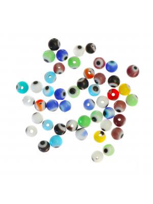 Mix Perline, in vetro, tonde, 4mm., disegno occhio, colori misti