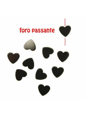 Distanziatore a forma di cuore piatto, in Ematite, 6x6 mm., colore EMATITE
