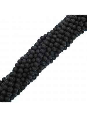Filo di distanziatori tondi in Pietra Lavica, colore Nero