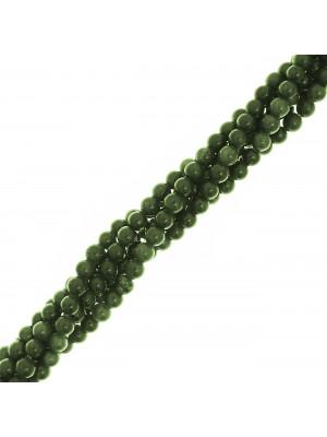 Filo di pietre dure tonde, diametro 6 mm., colore Giada Verde Oliva
