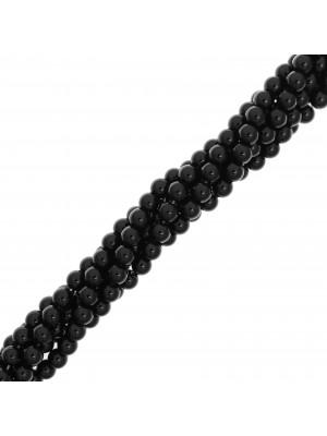 Filo di pietre dure tonde, diametro 6 mm., colore Onice Nera