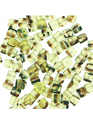 Cubo, 5x7 mm., Verde Oliva chiaro striato in Marrone