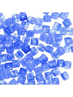 Cubo, 5x7 mm., Acqua striata in bianco