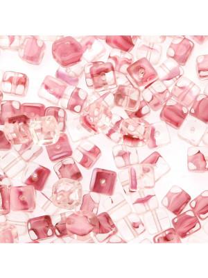Cubo, 5x7 mm., Rosa sfumato in bianco e in trasparente