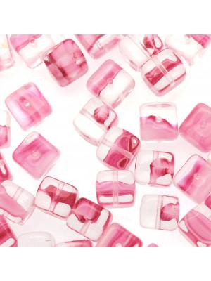 Cubo, 8x11 mm., Rosa sfumato in bianco e in trasparente