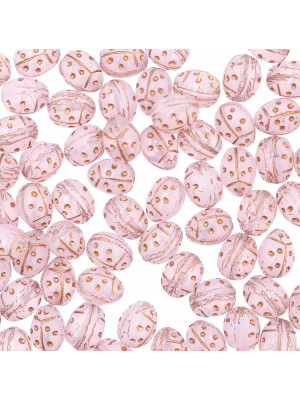 Ovale bombato con disegno coccinella, 9 mm., Rosa baby opale con dettagli oro