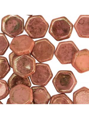 Esagono, 17 mm., Rosa antico scuro marmorizzato