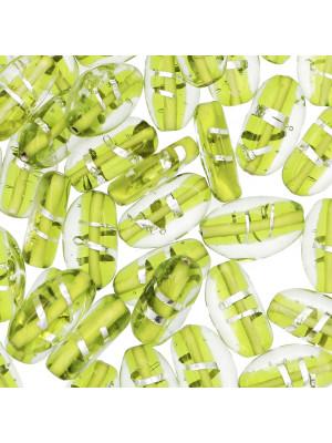 Oliva, 15x10 mm., Verde con argento 925