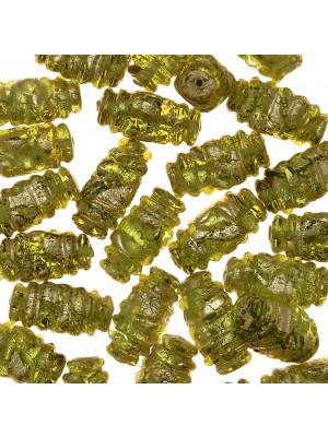 Oliva 4 facce, 22x10 mm., Verde oliva con foglia oro zecchino