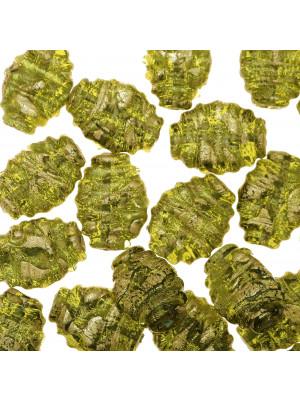 Ovale piatto, Verde oliva con foglia oro zecchino