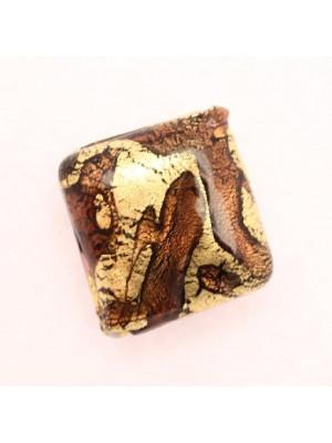 Quadro piatto, 20 mm., Marrone con oro zecchino