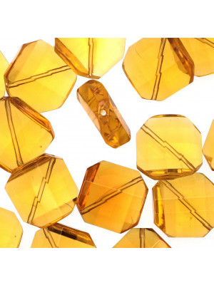 Rombo sfaccettato in cristallo, 20 mm., Topazio