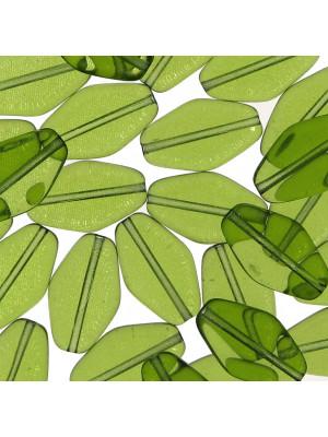 Rombo piatto, 16x10 mm., Verde oliva trasparente