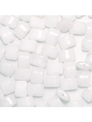 Rettangolo piatto foro orrizzontale, 8x11 mm., Bianco latte poco sfumato